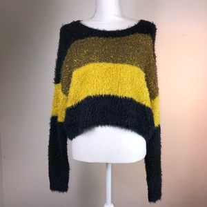 Urban Outfitters Womens Colorblock Cropped Sweater